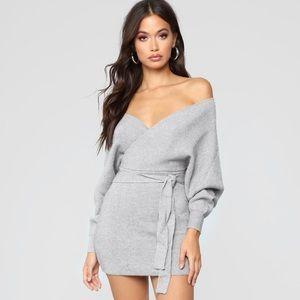 Fashion Nova Womens Body-con Gray Sweater Dress XS